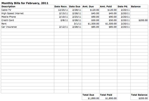 Bills Spreadsheet by Monthly Bills Spreadsheet Printable Images