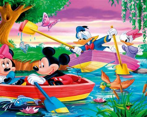 mickey mouse  donald duck river boat rowing hd desktop wallpaper  laptop  tablet