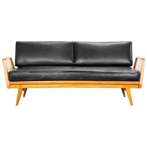 Cherry And Leather Sofa By Knoll Antimott Mid Century Leather Mid Century Modern Sofa