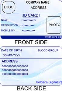 Credit Card Size Id Template card id card template