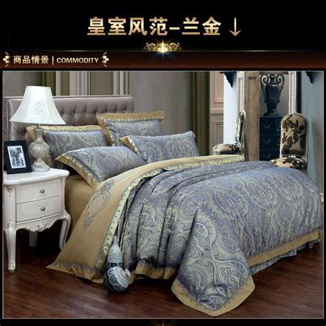 Blue And Gold Bedding Sets Aliexpress Buy Luxury Blue Paisley Gold Satin Jacquard Bedding Comforter Sets King