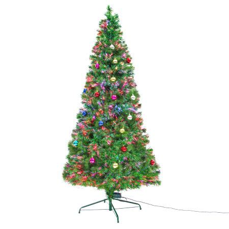 8ft 240cm fibre optic led christmas tree baubles multi