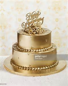 Golden Wedding Anniversary Ideas by Gold Anniversary Cake Stock Photo Getty Images