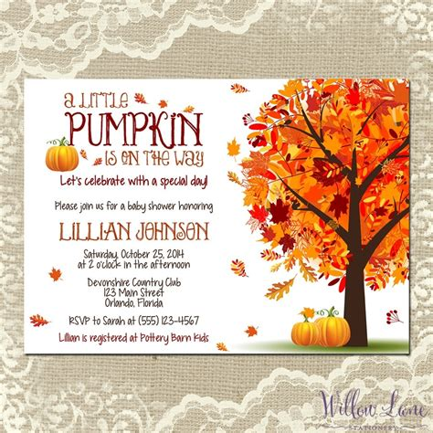 Fall Baby Shower Invites fall themed baby shower invitations template resume builder