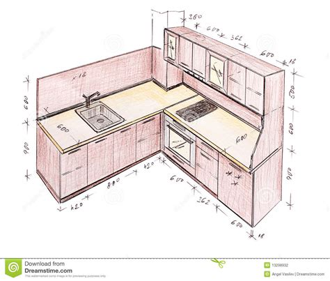 Kitchen Design Drawings Modern Interior Design Kitchen Freehand Drawing Decobizz