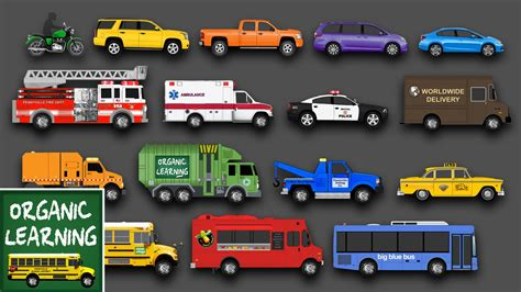 learning street vehicles names and sounds for kids learn cars trucks fire engines more