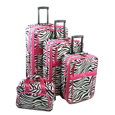 Zebra Pattern Suitcase | expandable 4 piece luggage set pink zebra stripe pattern