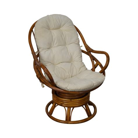 rattan swivel lounge chair chairish