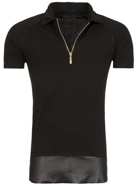 Ziper Polos y r golden zipper polo shirt faux leather bottom