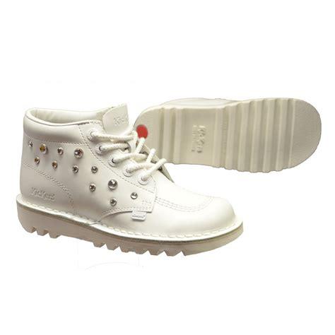 kickers kickers kick hi leather white c3