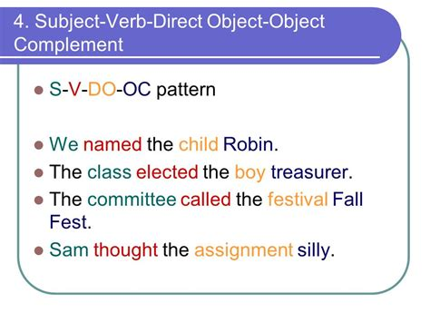 sentence pattern subject verb object 6 basic sentence patterns ppt video online download