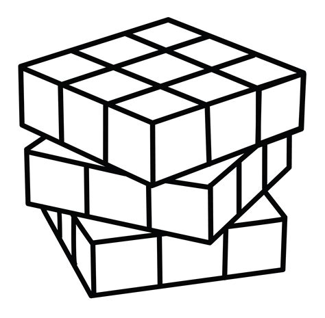 rubiks cube coloring page free clip
