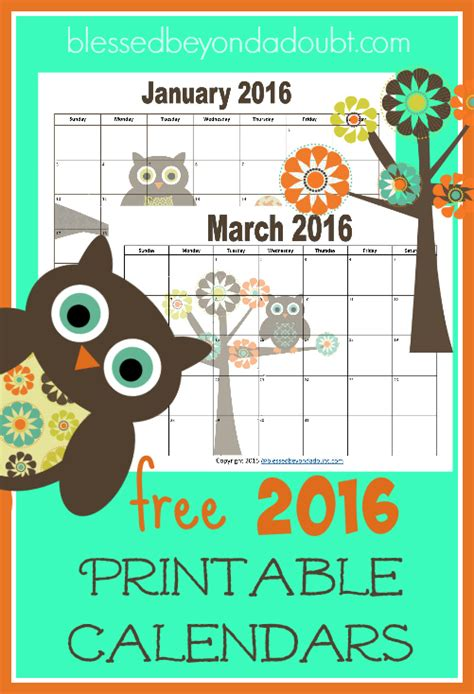 Printable Themed Calendar 2016 | free 2017 monthly printable calendars owl themed my