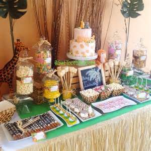 Cake And Candy Buffet Table Safari Babyshower Candy And Desserts Table Cake Pops