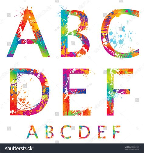 font colorful letters drops splashes f stock vector