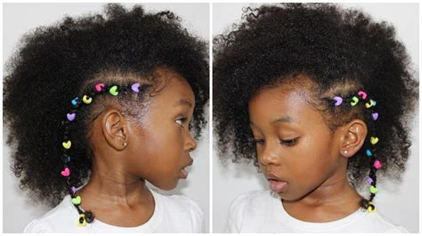 rubber band mohawk with beads hairstyle cornrow with beads hair tutorial for little girls youtube