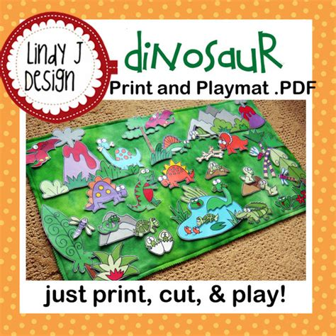 dinosaur play rug dinosaur land print and play mat playmat pdf pattern