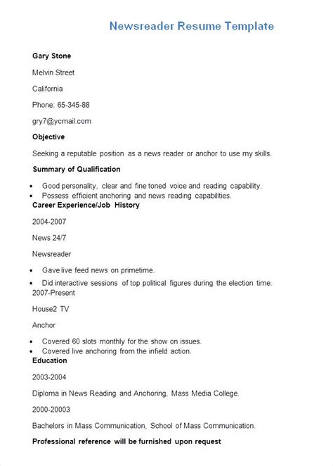 sle newsreader resume cv template free sles