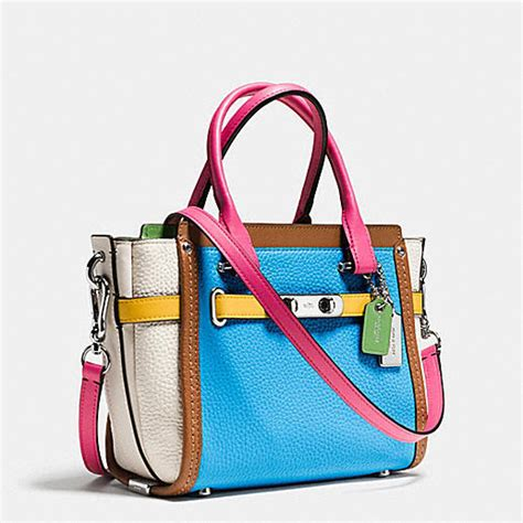 Coach Swagger Carryal Rainbow 23106 coach swagger 21 silver azure multi rainbow colorblock leather carryall handbag handbags purses