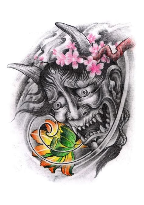 red hannya mask tattoo designs hannya masks and blossom tattoo design 187 tattoo ideas