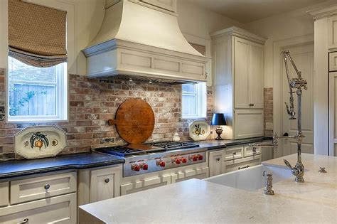 Red Brick Kitchen Backsplash   Cottage   Kitchen