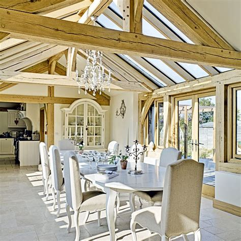 country dining room with beams dining tables