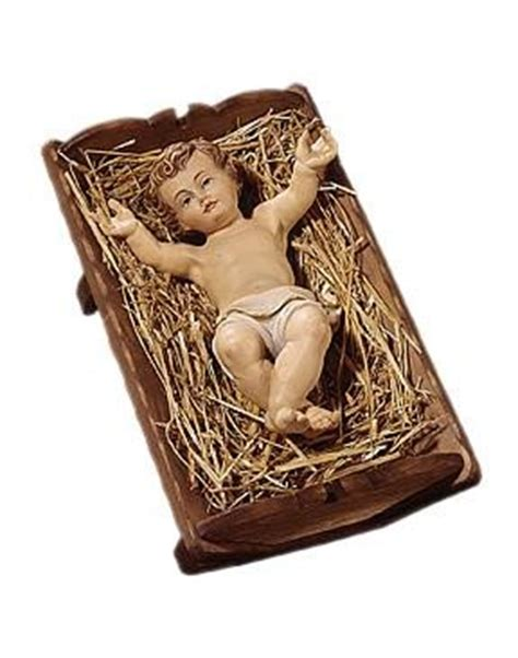Baby Jesus With Crib Wood Sculpture Nativity Baby Jesus In The Crib