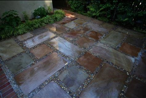 stained concrete patios with pebbles gardening ideas