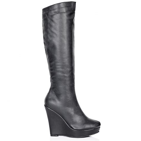 thigh high boots with wedge heel buy lena wedge heel stretch platform knee high boots black