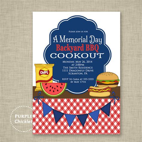 Richies Memorial Day Invitation by Cookout Invitation Labor Day Memorial Day Bbq Invite