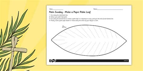 palm sunday template palm sunday make a palm leaf paper craft christianity