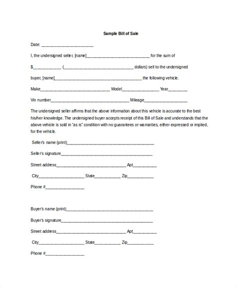 bill of sale template doc vehicle bill of sale template 11 free word pdf