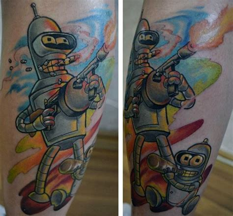 bender tattoo 80 futurama designs for animation ink ideas