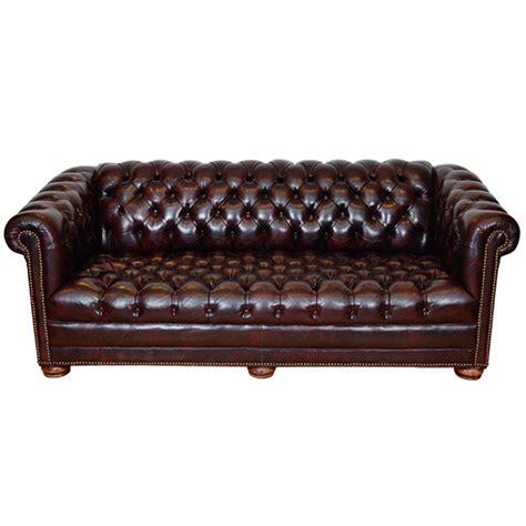 Midcentury Cordovan Chesterfield Sofa W Brass Nail Nail Sofa