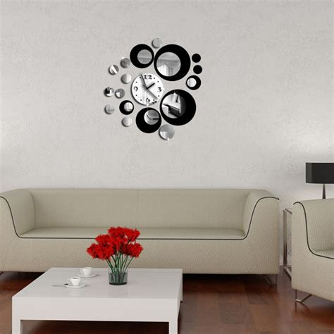 luxury wall stickers and black circle 3d clock modern design luxury wall stickers mirror wall diy