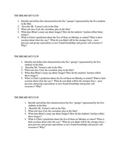 The Breakfast Club Essay by The Breakfast Club Essay Essay From The Breakfast Club Brelmontruritanclub Ayucar