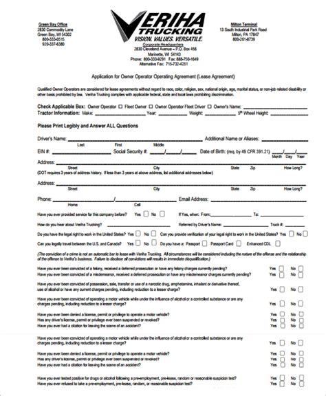 truck lease agreement template truck driver lease agreement