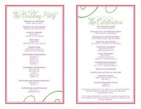 program invitation template wedding itinerary templates free wedding reception