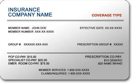 blank insurance card template health insurance card