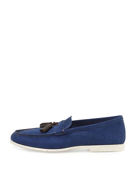 blue suede tassel loafer tom ford suede tassel loafer blue in blue for lyst