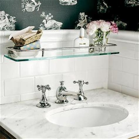 over the sink bathroom shelf glass shelf over sink traditional bathroom elle decor