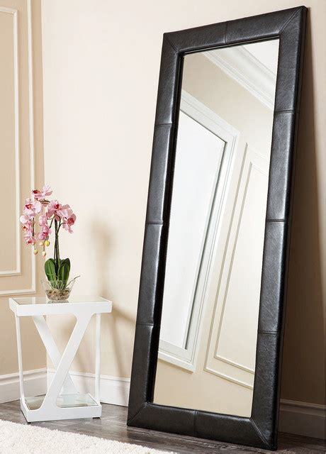 abbyson living delano black leather floor mirror contemporary floor mirrors by overstock com