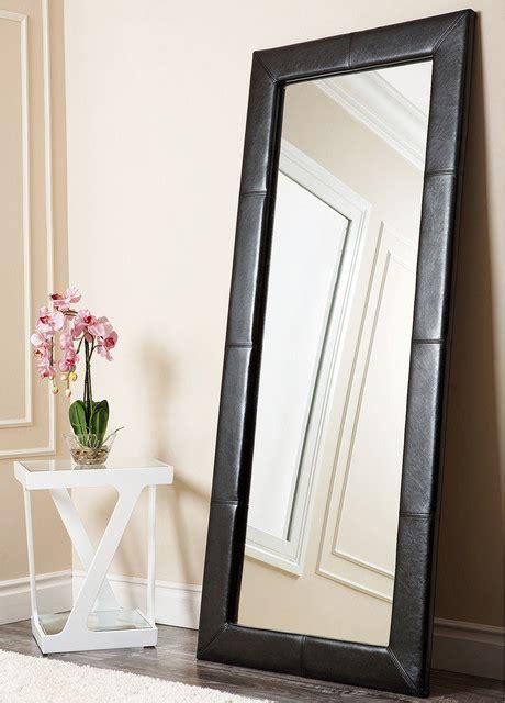 abbyson living delano black leather floor mirror