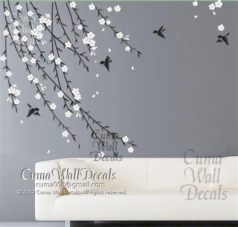 white flower wall stickers cherry blossom birds nursery wall decals tree vinyl wall by cuma