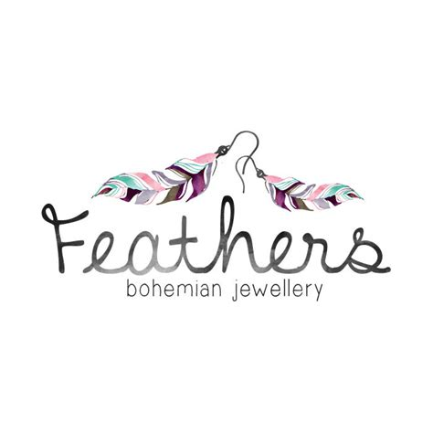 Handmade Jewelry Logo - feather earrings logo design feather logo by quietforestdesign