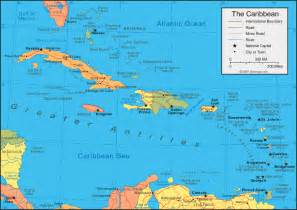 caribbean islands map and satellite image