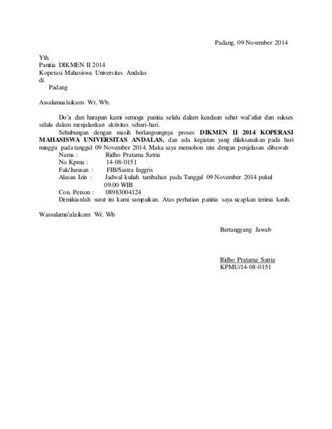 Contoh Surat Ijin Tidak Masuk Dinas by Contoh Surat Izin