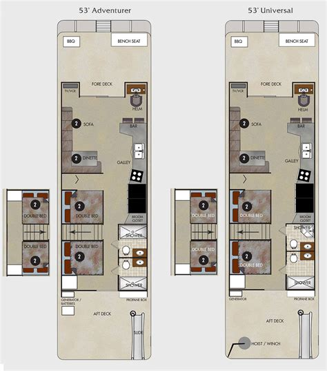 houseboat floor plans 53 foot adventurer houseboat