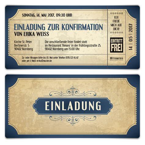 einladungskarten blau konfirmation einladungskarten vintage eintrittskarten in