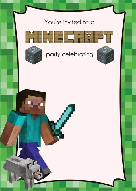 minecraft invitation template free free minecraft printables lemonberrymoon